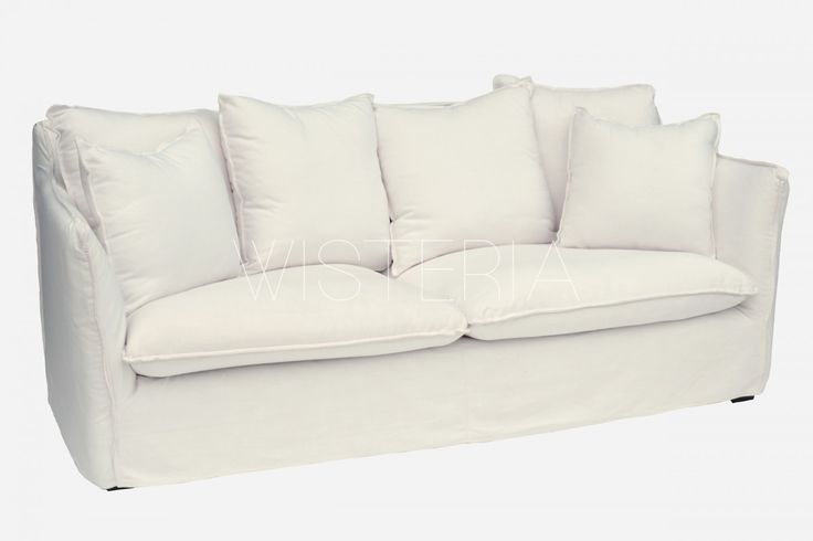 Wisteria Divine Sofa - Fabric: Poly/Cotton White Leg Timber: Rustic Charcoal Note - 4 x Large Cushion & 2 x Small Cushion included