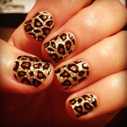 Cheetah nails, I used Nicole silver nail polish for my background, & then gold dots with a nail pen, & outlined the gold dots with a black nail pen.