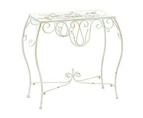 Tavolino in ferro decorato Roses - 66x62x30 cm