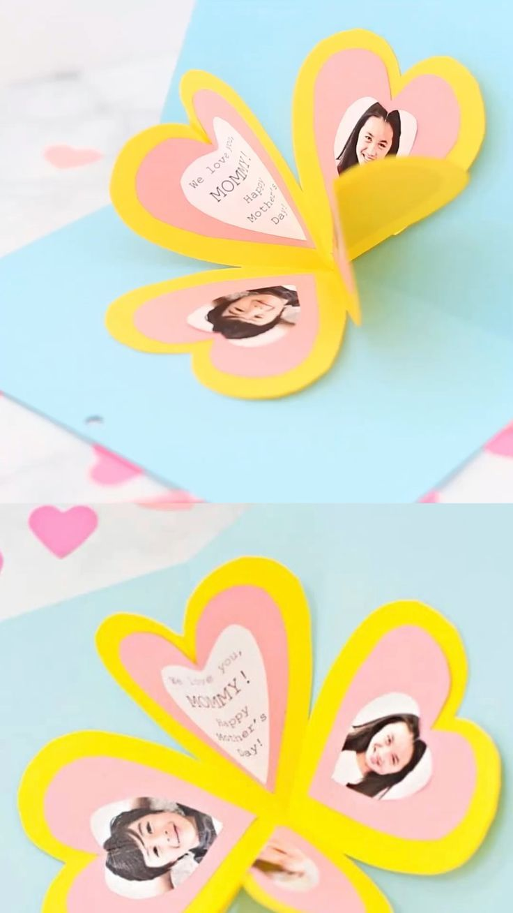 Get The Free Template To Make This Easy Heart Pop Up Card Heart Pop Up Card Diy Mother S Day Crafts Mothers Day Crafts