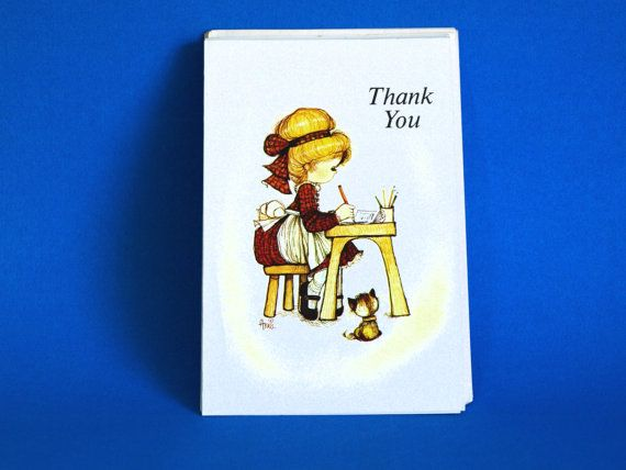 Cute Girl with Kitty Annie Thank You Cards with by FunkyKoala