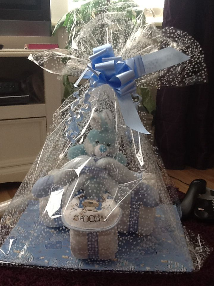 Bike nappy cake in cellophane with bow