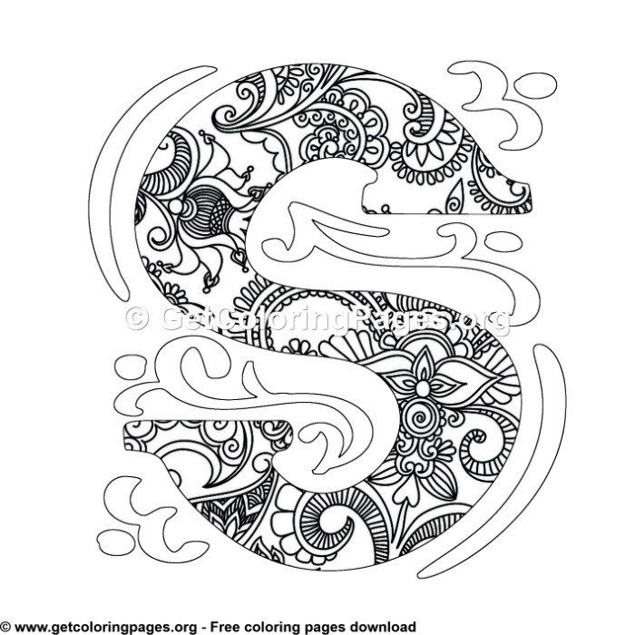Zentangle Monogram Alphabet Letter S Coloring Sheet Unicorn Coloring Pages Pattern Coloring Pages Mandala Coloring Pages