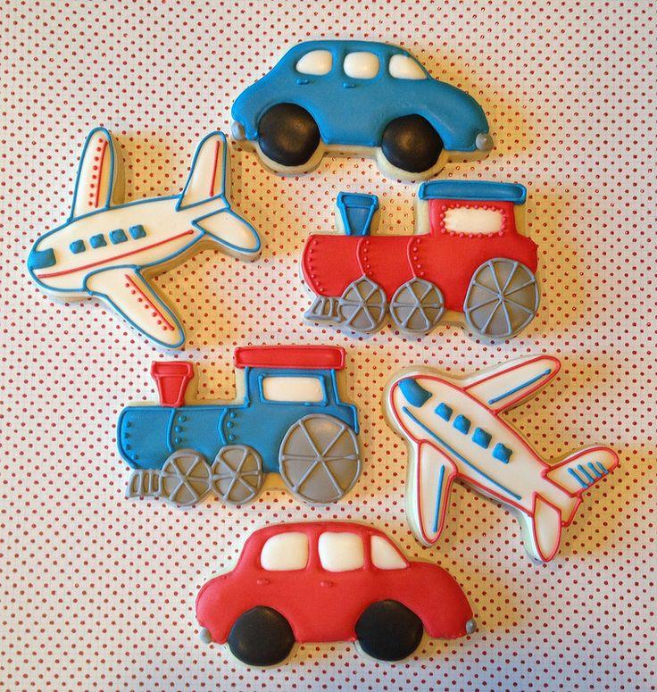 Cars, planes and Trains sugar cookies.   www.facebook.com/LittleMissMoffatCookies