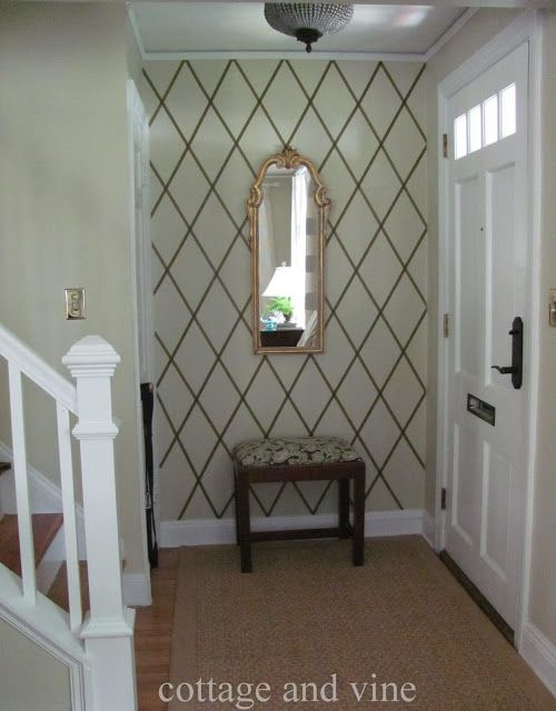Temporary Wall Treatment Ideas for Renters.deco masking tape/ wrapping paper on accent walls @Stephanie Chartrand