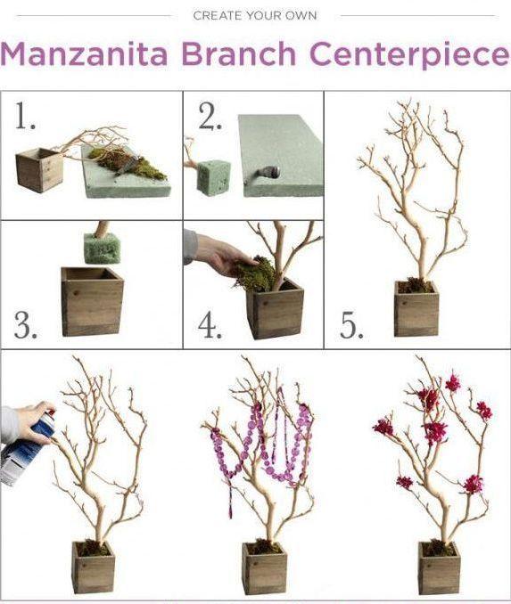 Diy wedding branch centerpiece decorate artificial or