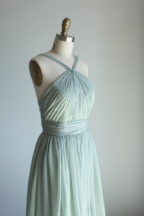 Dusty shale Bridesmaid dress Halter dress Wedding by RenzRags