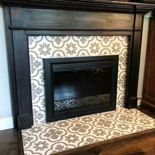 Santa Rosa Tile Stencil Fireplace Tile Surround Paint Fireplace