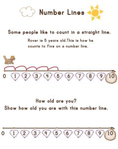Introduce children to a number line with this cute little exercise!