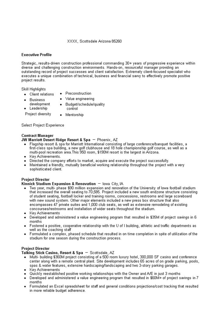 Construction Contract Manager Resume How to grab your