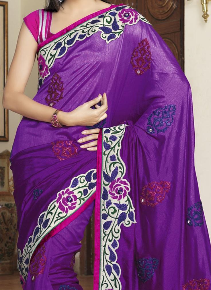 Magnetizing Purple Dupion Silk Saree