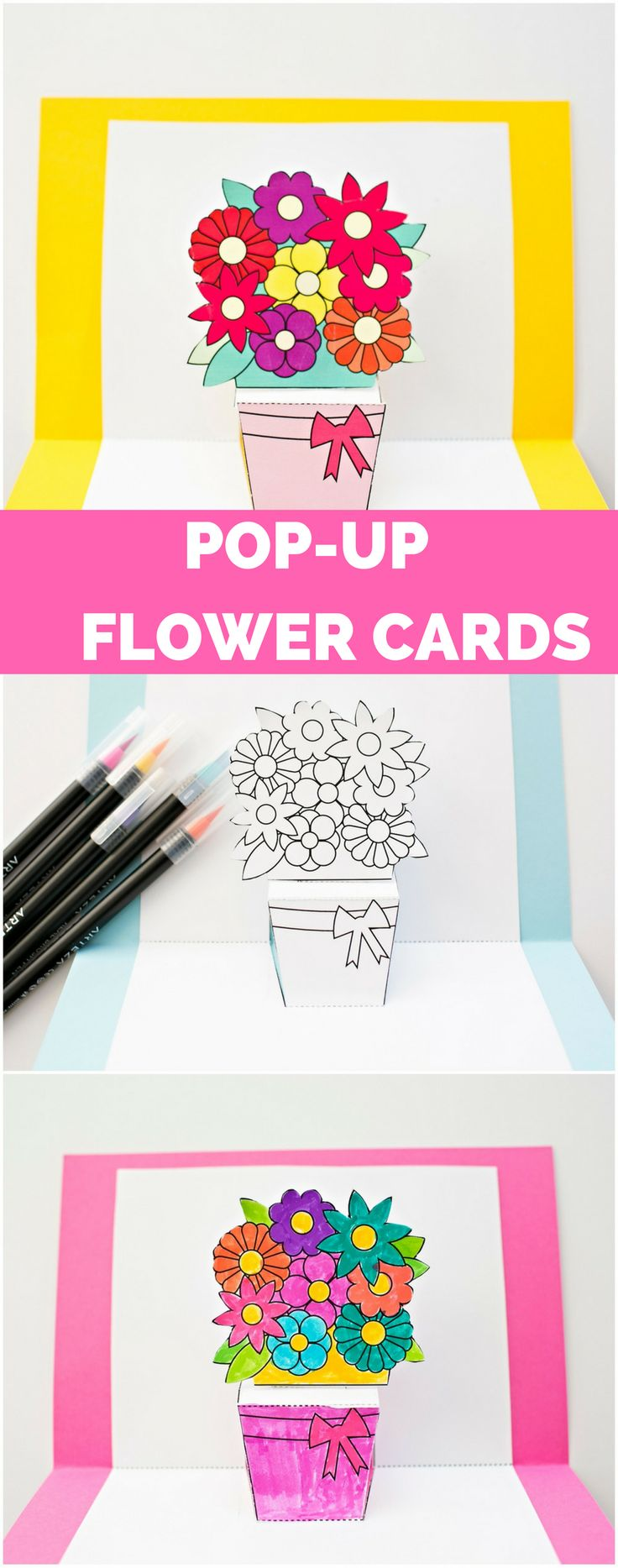 DIY Pop-Up Flower Cards. With free printable templates and options to color your own. Cute Mother's Day, spring or birthday paper card kids can make!