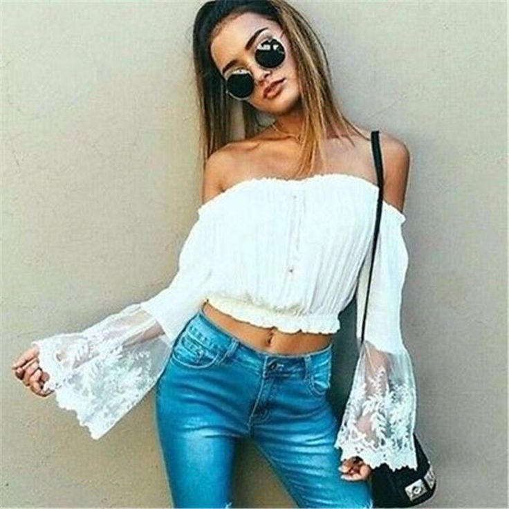 An off-the-shoulder hippie top with long flared sleeves, lace, and an elastic band to hold everything up. It's what every flower child could want in a top! Made with chiffon.