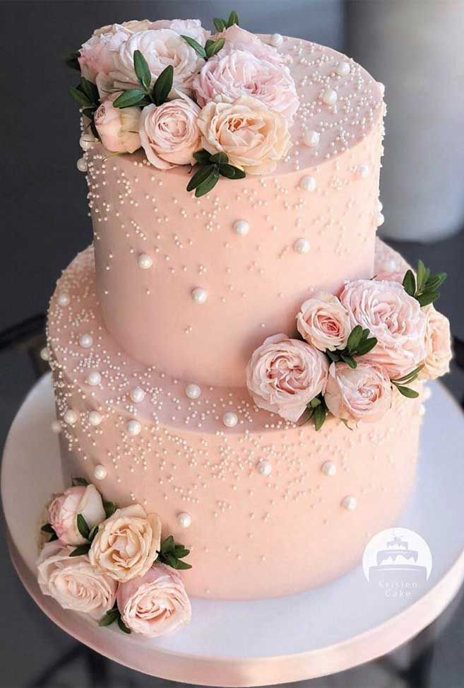 The 50 Most Beautiful Wedding Cakes – Two tier pink wedding cake - Fabmood   Wedding Colors, Wedding Themes, Wedding color palettes