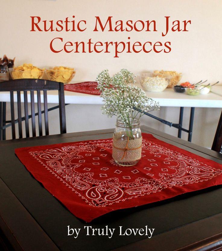 rustic mason jar centerpieces #craftyjars @ConsumerCrafts.com