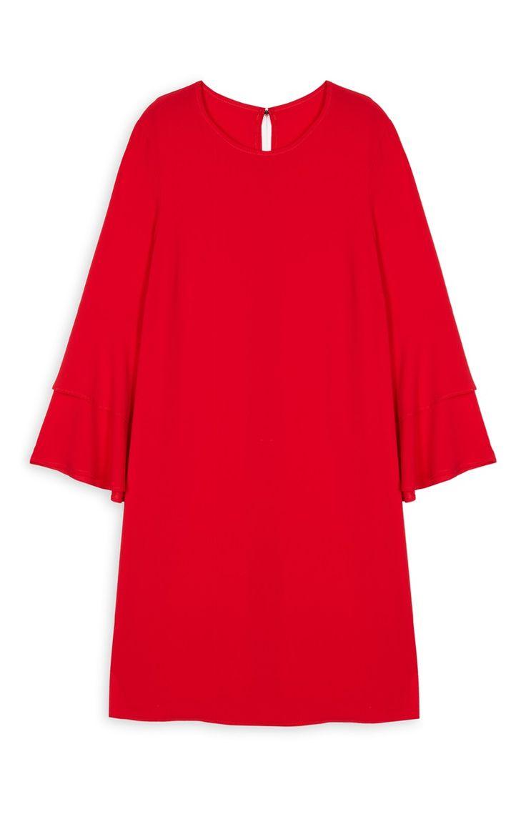 Primark - Vestido túnica c/ mangas largas vermelho