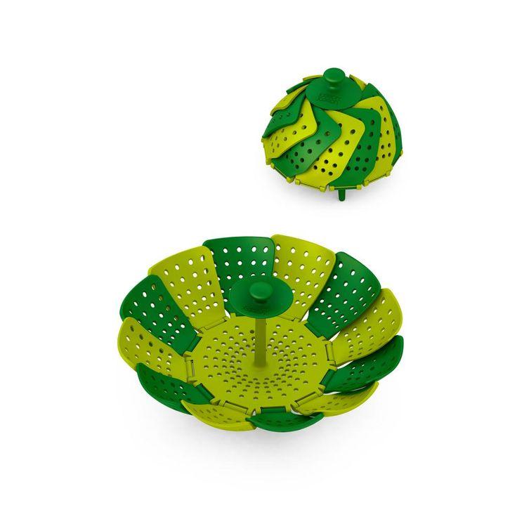 Lotus Plus Non-Scratch Folding Steamer Basket, Green/Dark Green