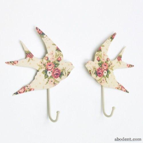 floral flock coat hooks