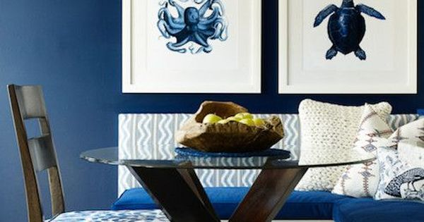 We love this bold navy and white nautical dining room!