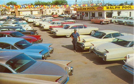 1950s Car lot .... Look at all the fins, and the pink '55!