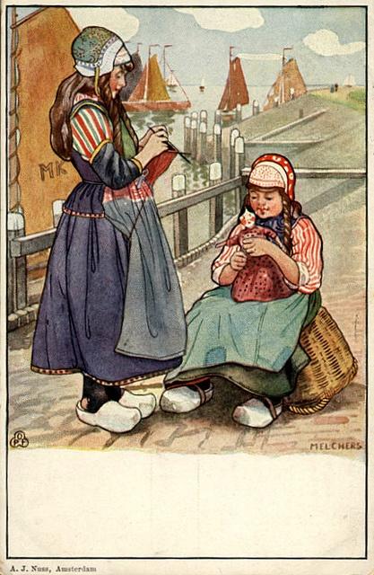 Marken, Dutch girls knitting vintage postcard #NoordHolland #Marken