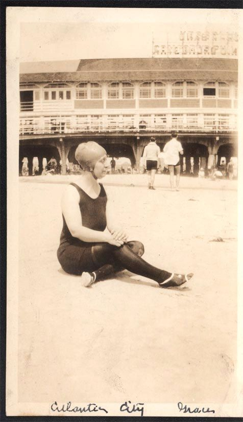 Vintage photo Lady Swim Costume and Cap Atlantic City Beach Boardwalk $4.50
