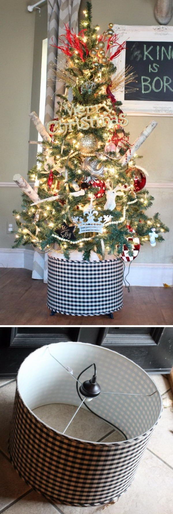 Black And White Gingham Drum Light Fixture Christmas Tree Stand.