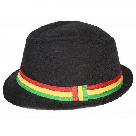 Rastafarian Colored Band Fashion Black Fedora Hat - CH11CZGX04R ... a5ef571d7552