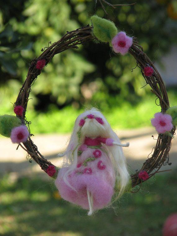 Sleeping beauty needle felted decoration waldorf by Made4uByMagic