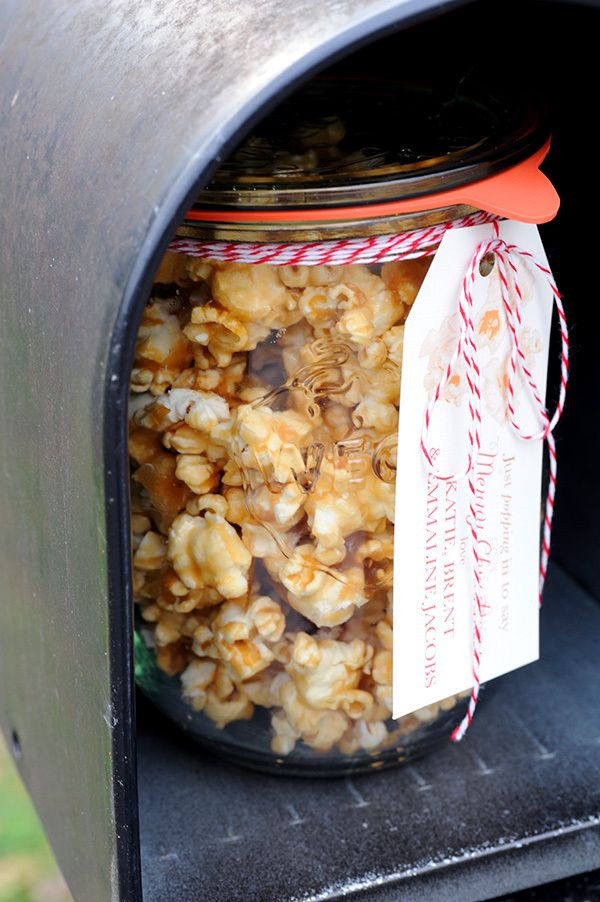 Salted Caramel Popcorn for holiday gift deliveries. Homemade Christmas gifts.