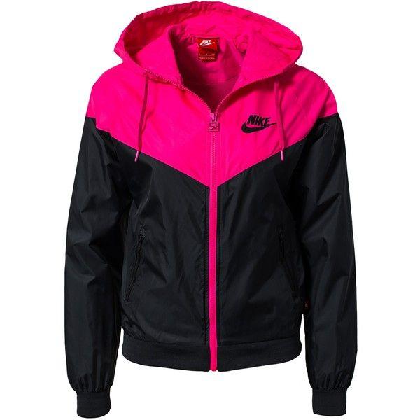 Nike Windrunner ($93) ❤ liked on Polyvore featuring outerwear, jackets, shirts, tops, nike, coats & jackets, sports fashion, womens-fashion, black zipper jacket and sports jacket