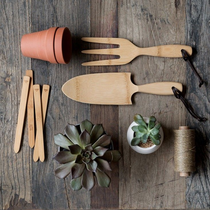"Use healthy Bamboo Hand Tools! This reduces your plastic consumption and keeps your garden ""down to earth."""