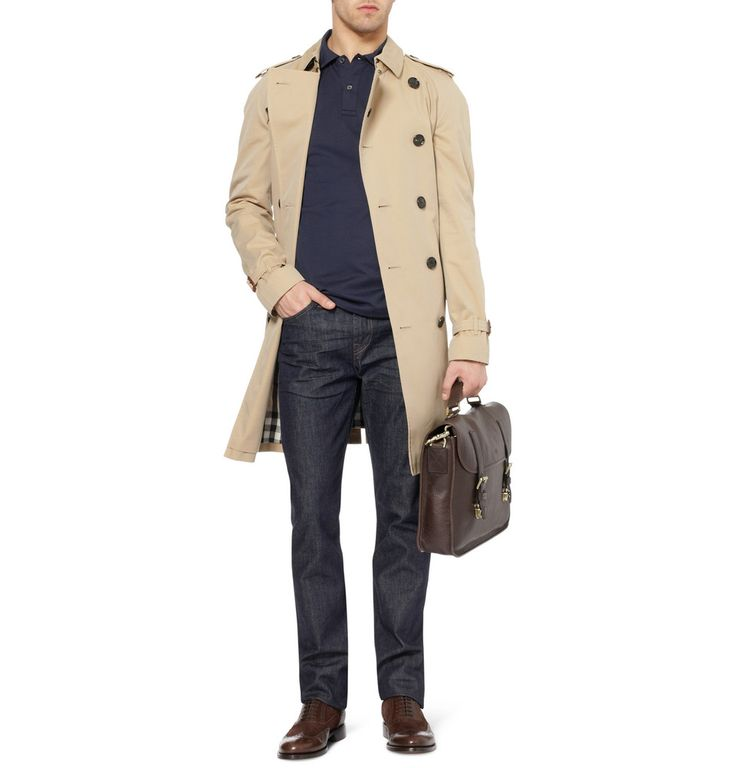 Sunspel Long-Sleeved Cotton-Jersey Polo, Burberry Trench, Mulberry Case