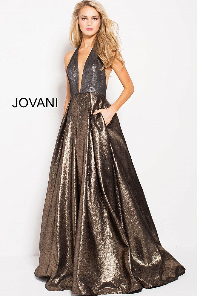 2481a7646cd0 Gold Silver Halter Neck A-Line Prom Gown 57237
