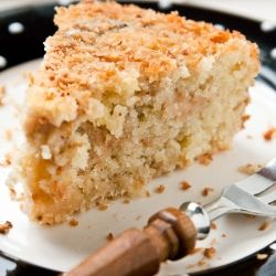 Light and moist coconut and feijoa cake (or use pineapple for a pina colada cake)