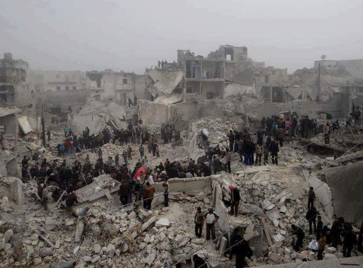 Searching for the bodies of their loved ones ...Aleppo #AssadIsBurningAleppo #RussiaIsBurningAleppo  #حلب_تحترق