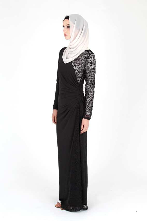 Abayas & Dresses :: Black Lace Jersey Dress - Hijab House Online Australia - Latests Colours and Designs in Hijabs Abayas Caps Cardigans