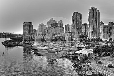 Black and white Vancouver skyline in British Columbia, Canada
