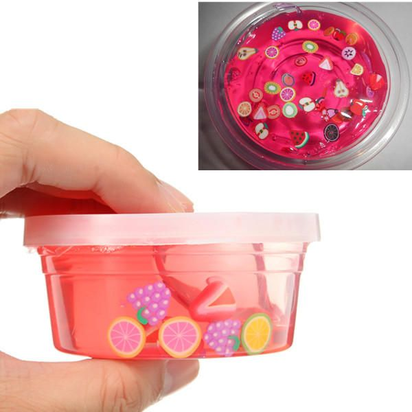 Slime 4oz Clear Pink Fruit Salad Slime Fimo Slice Crystal Clear Putty Toy