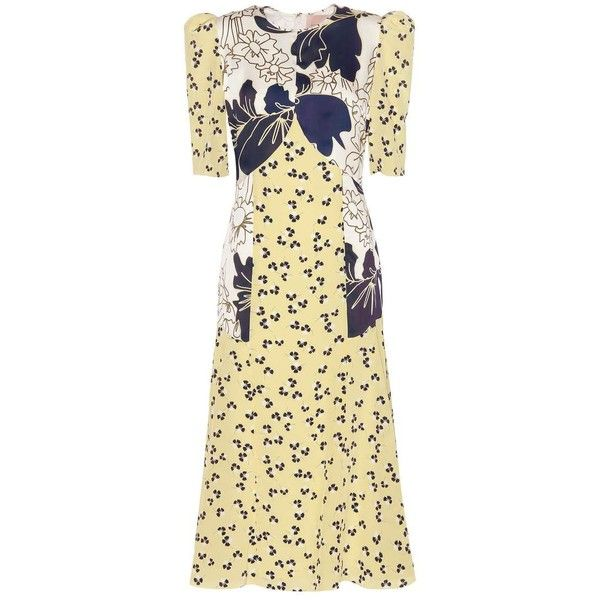 Roksanda Thalia Printed Silk Dress (£1,840) ❤ liked on Polyvore featuring dresses, cocktail/gowns, yellow, holiday dresses, beige cocktail dress, beige evening dress, special occasion dresses and roksanda