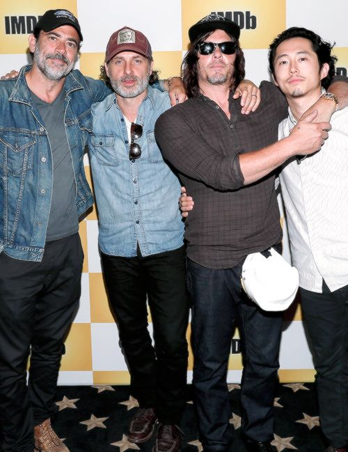 Jeffrey Dean Morgan, Andrew Lincoln, Norman Reedus and Steven Yeun of the Walking Dead on the IMDb Yacht at San Diego Comic-Con 2016 on July 23, 2016.