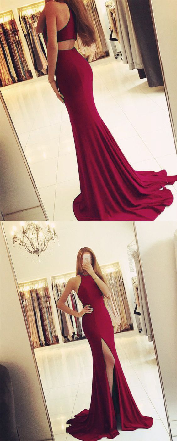 Long Jersey Backless Mermaid Prom Dresses 2018 Burgundy Evening Gowns With Split