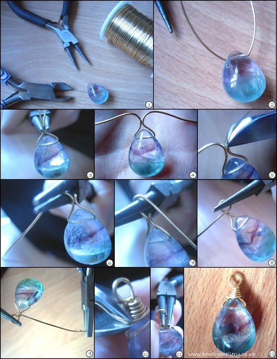 Several jewelry making tutorials: How to do a wrapped loop using a headpin, How to wire wrap a briolette, How to finish a bracelet/necklace the easy and secure way
