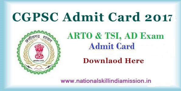 CGPSC – ARTO & TSI, AD Exam Admit Card 2017  CGPSC – ARTO & TSI, AD Exam Admit Card 2017 : Chhattisgarh Public Service Commission (CGPSC) has recently released call letter for attending examination for the posts of ARTO & TSI, Assistant Director (AD) (Planning & Survey). Examination for AD will be held on 07-01-2017. Candidates who have applied for this post can download their call letter at below link…