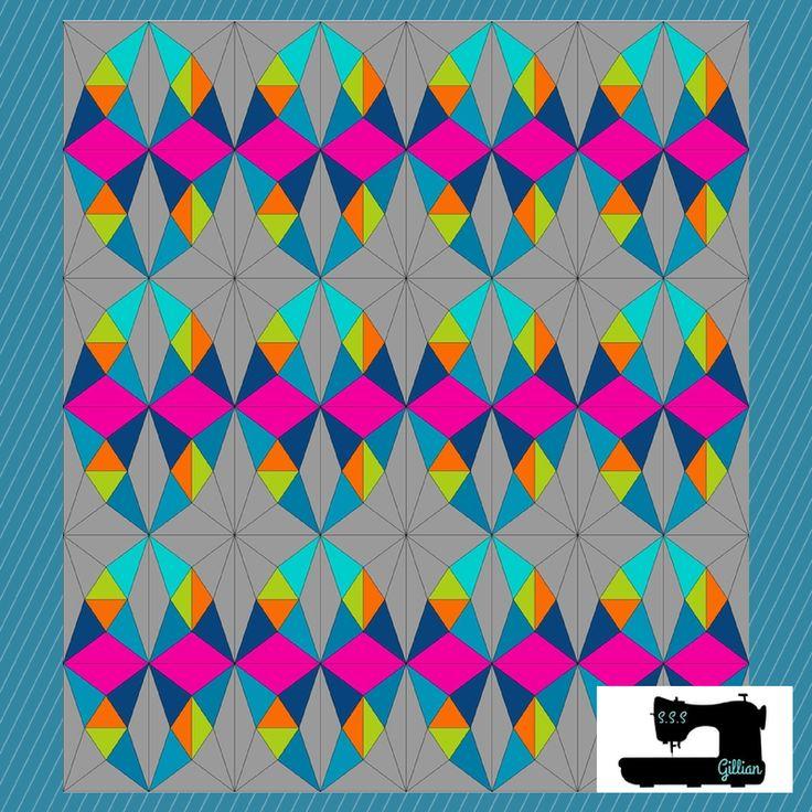 Priscilla Quilt version 3 - Gillian  Modern Quilt design using EQ7