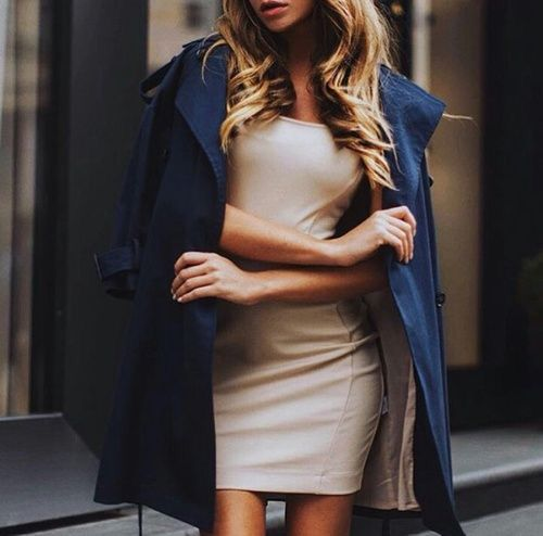 Beige dress & navy trench coat.