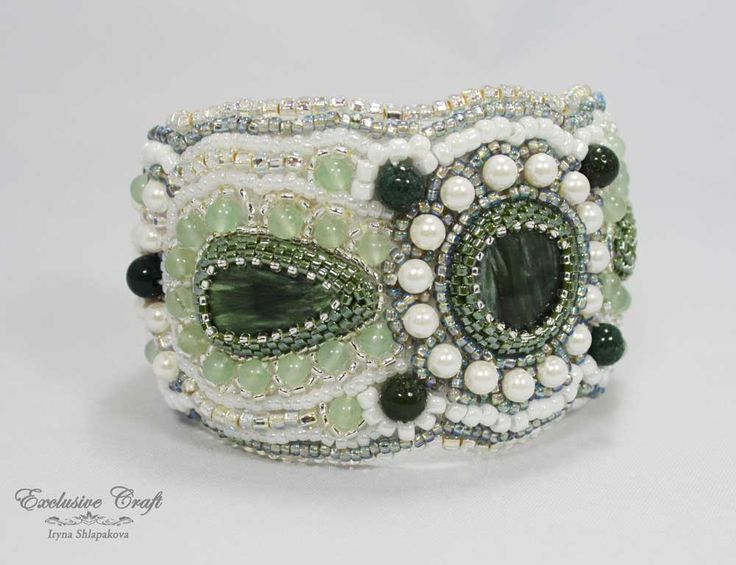 Bead embroidery cuff bracelet, white accessories, unique gift for her – Exclusive Craft