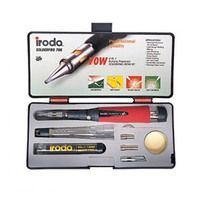 Iroda Solderpro 70K 4 IN 1 Butane Powered Soldering Iron Kit #PRO-70K  Features • A manual ignition tool (power range 25w-80w) with three extra tips plus cored solder and a cleaning sponge.  • All packed in a tough polypropylene carrying case.  Applications • Electrical / Electronic circuit repair • Light gauge welding • Blazing • Light plumbing • Jewelry, eyeglass frame repair • Model building  • Arts & Crafts • Dental Wax corrections • Thawing frozen locks