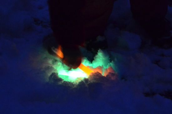 Winter Outdoor Activities: Snow Glow Sticks