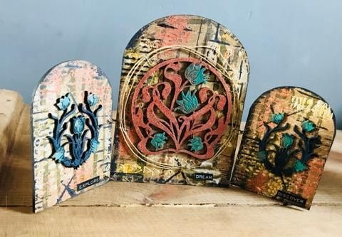 Calico Craft Parts: Altered Rusted Triptych-by Lesley